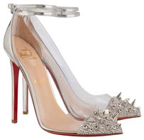 Christian Louboutin Spikes Clear Silver Pumps