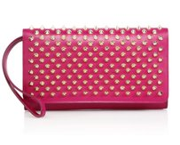 Christian Louboutin Wallet Pink Leather Studded Wristlet