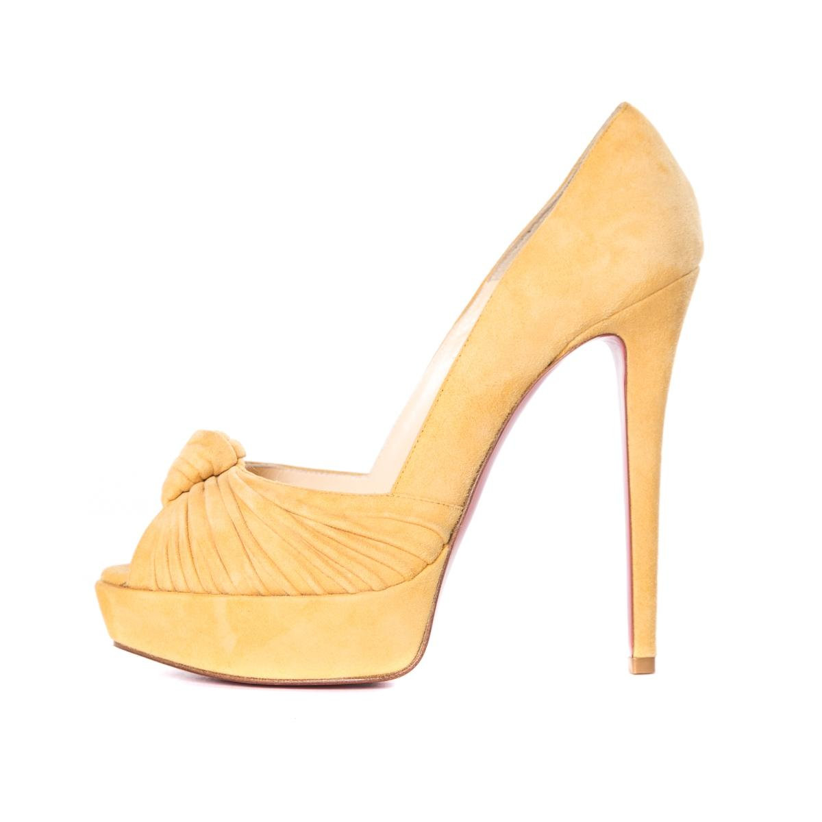 Christian Louboutin Suede Mustard Pumps Size US 7.5