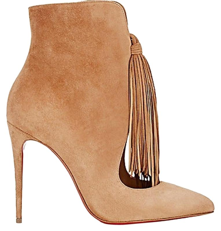 Christian Louboutin Tan Fringed Ottocarl Ankle Boots/Booties Size US 9.5 Regular (M, B)