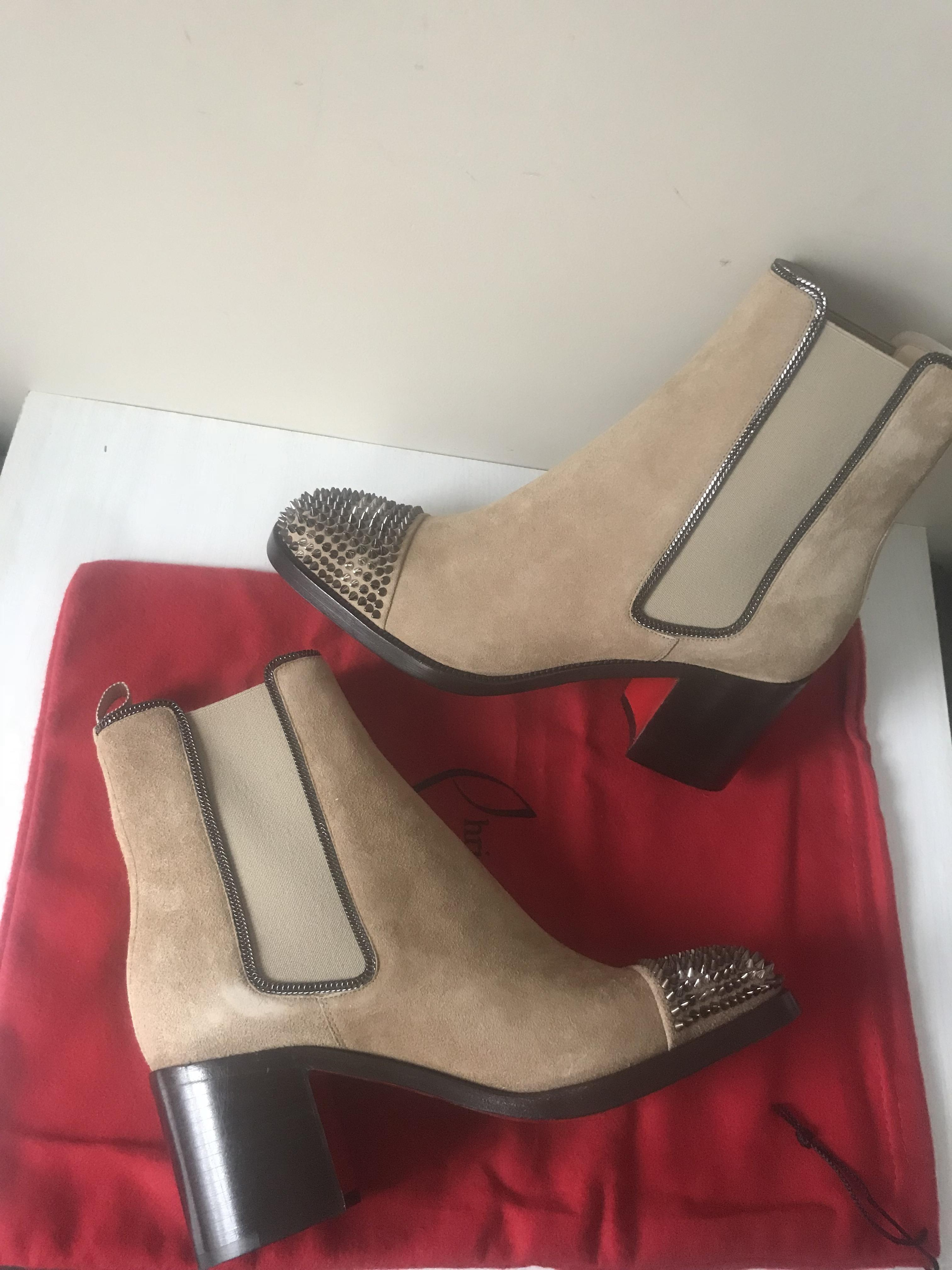 3542175516bc ... Christian Louboutin Tan Otaboo 70 70 70 Suede Spiked Studded Ankle  Chelsea Heels Boots Booties ...