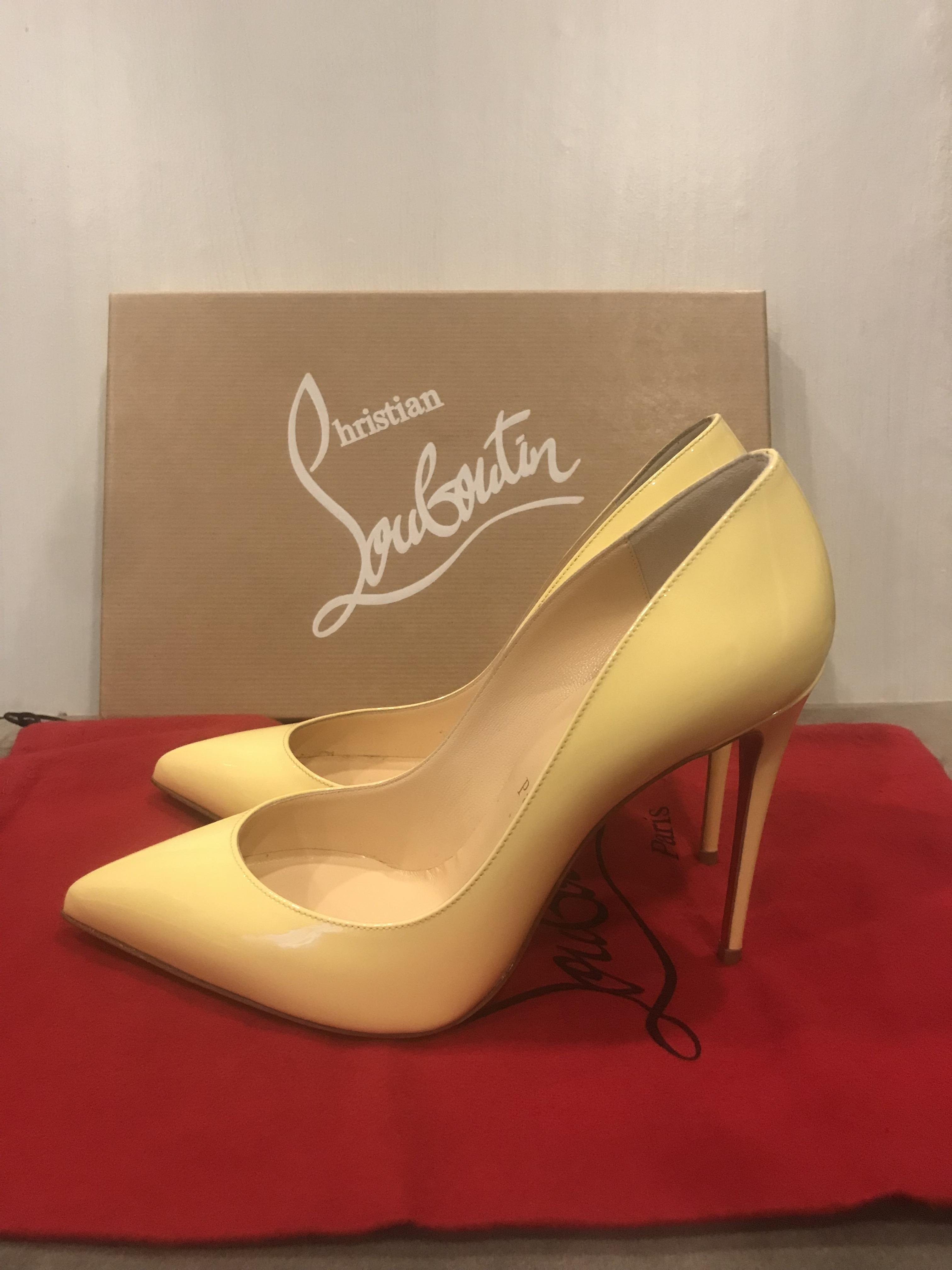 63fb4fe9652d ... Christian Louboutin Vanille (Light Yellow) Pigalle Follies 100 Patent  Patent Patent Leather Heel Pumps ...