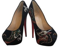 Christian Louboutin Velvet Beaded Dragon Tattoo Highness Black Pumps