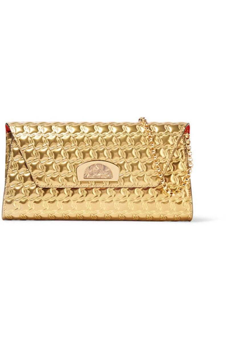 Vero Dodat gold leather clutch Christian Louboutin 6eqW7ggY91