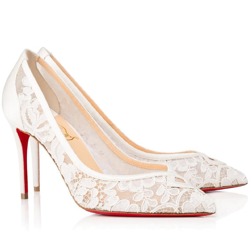 3f1172d57582 ireland christian louboutin heels point toe lace lace white pumps 26af9  262b5