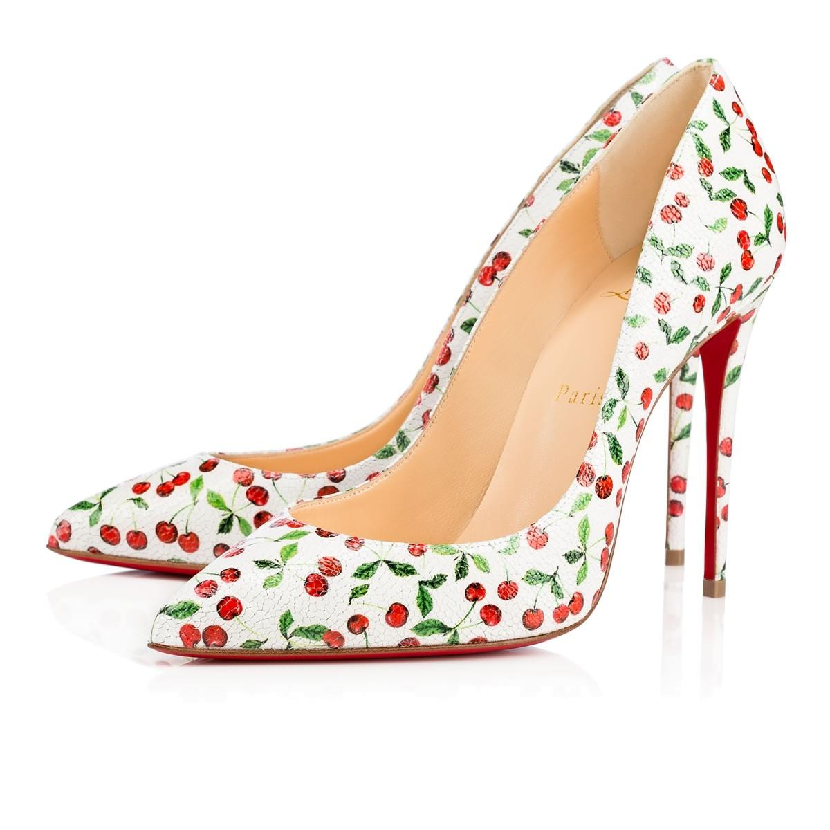 fd17b698c7 Christian Louboutin Louboutin Louboutin White Classic Pigalle Follies 100mm  Red Cherry Print Heel Sz. Euro