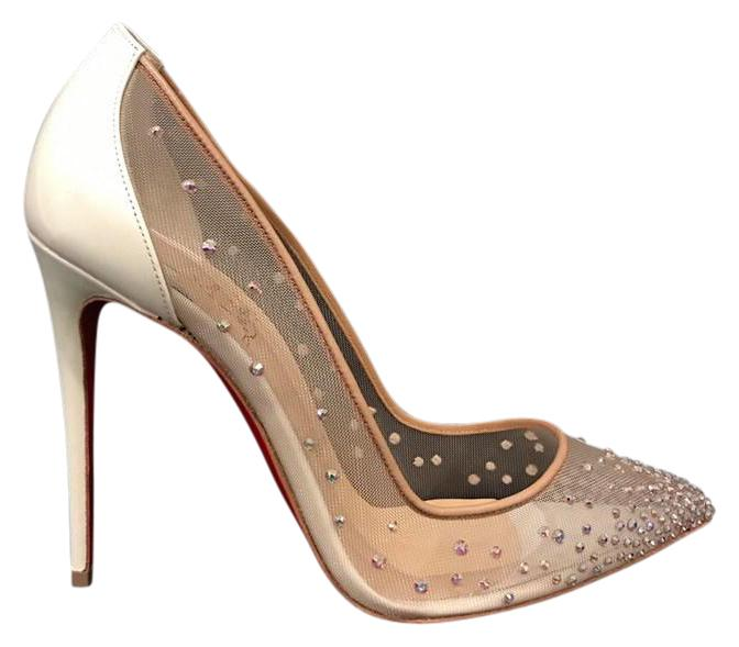 Christian Louboutin White Follies Strass 100 Nude Mesh Pigalle Heel 39.5 Pumps Size US 9.5 Regular (M, B)