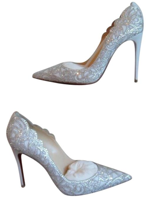 Christian Louboutin White Leather Top Vague 100 Pumps Size US 9 Regular (M, B)