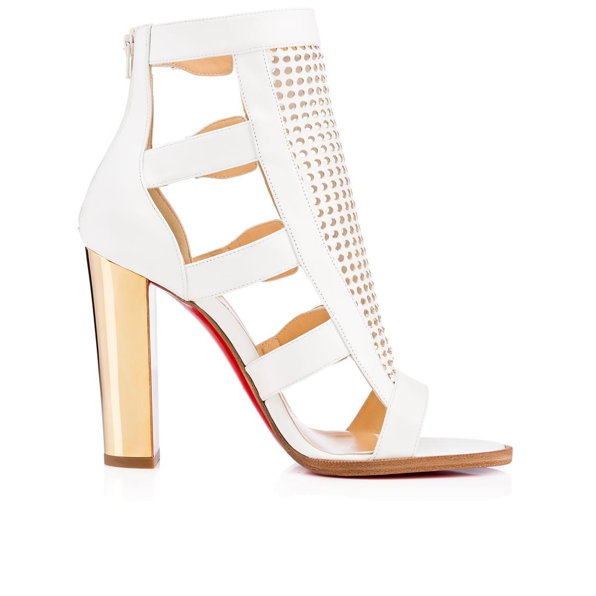 Christian Perforated Louboutin White New Fencing Perforated Christian Red Sole 41 Sandals Size US 11 Regular (M, B) 6142ef