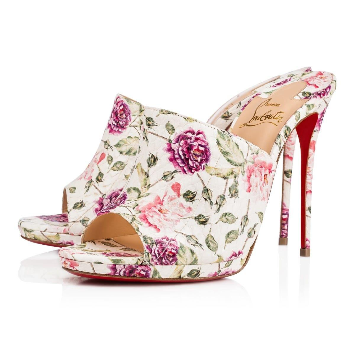 16a8ae051d7b Christian Louboutin White Pigamule 120 Pink Floral Snakeskin Backless Mule  Mule Mule Sandal Heel Pumps Size EU 36 (Approx. US 6) Regular (M