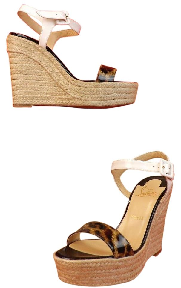 c19e6cdc71f9 ... real christian louboutin white brown sandals b1003 9e922