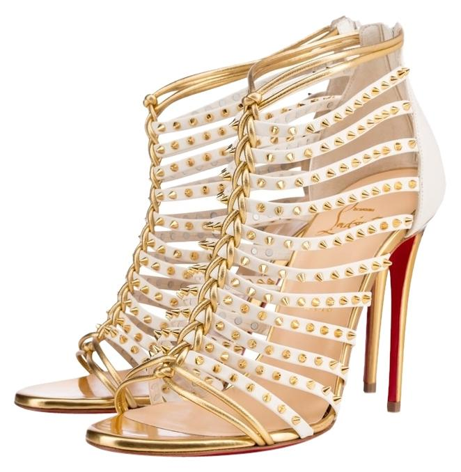 Christian Louboutin White/Gold Millaclou Studded Leather Cage Strappy 100mm Sandals Size US 8.5 Regular (M, B)