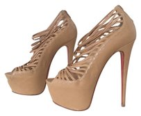 Christian Louboutin Zoulou Strappy Red Bottoms Beige Platforms