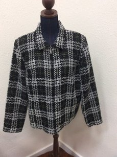 Christopher & Banks Womens Zip Up Black White Plaid Multi-Color Jacket