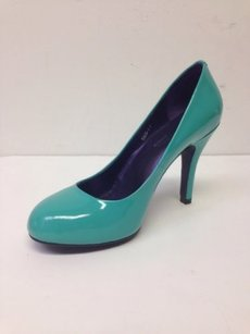 Chromatic Gallerie 4 Heels Round Toe 7w Wide Patent Leather Teal Green Pumps
