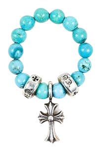 Chrome Hearts Chrome Hearts Turquoise Sterling Silver Beaded Cross Ring