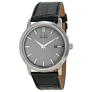 Citizen Citizen Eco-drive Silver Dial Stainless Steel Black Leather Mens Watch