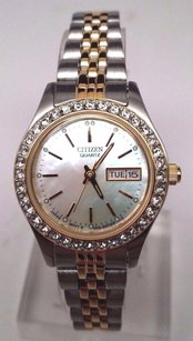 Citizen Citizen Womens Two-tone Ss Dress Watch W Swarovski Crystals Eq0534-50d