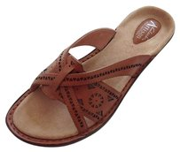Clarks Sandals Slides Leather Tan Mules