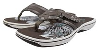 Clarks Womens Floral Thong 6m Casual Leather Flip Flops Brown Sandals