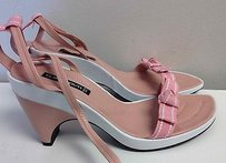 Claudia Ciuti Pink White Leather Wedge Heel Ankle Tie Bow Sandals B2129 Multi-Color Platforms