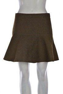Club Monaco Womens Checkered A Line Above Knee Casual Skirt Brown