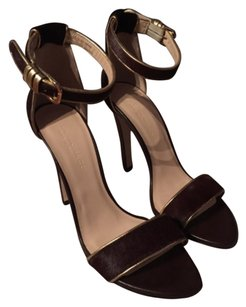 Club Monaco Burgundy Calf Hair with Gold Pipping Pumps