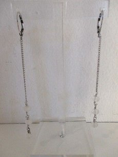 Club Monaco Club Monaco Silver Chain Three Bead Dangle Earrings