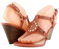 Coach Harper Melon Leather Designer Studded Sandals Stacked Wedges 7.5 Pink Platforms