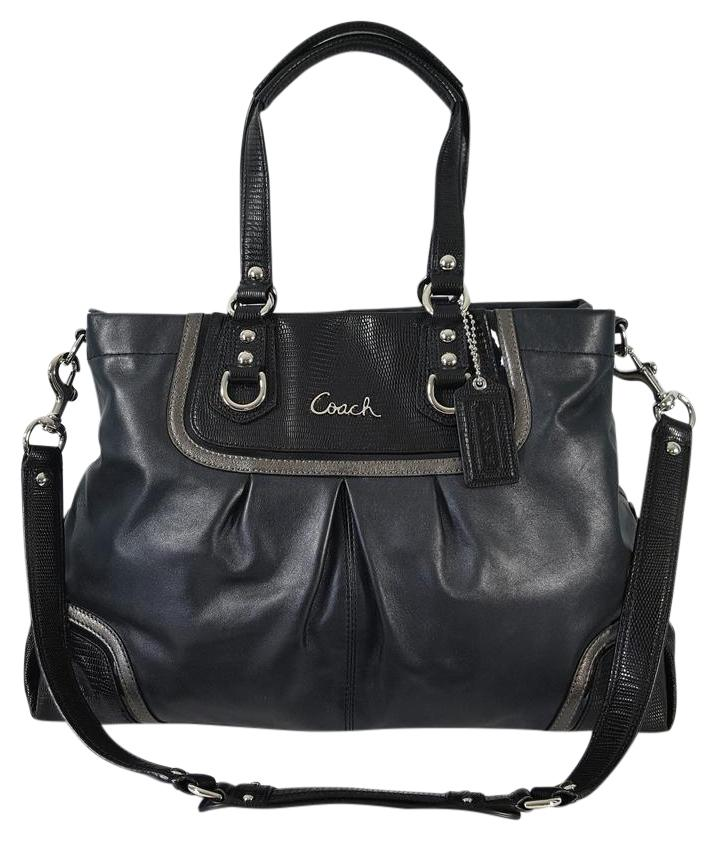 f8e1bfc5c6 ... new zealand coach croc embossed leather very rare convertible ashley  satchel in black 8f413 e123d