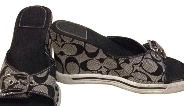 coach alyssa black and white sandals on sale 63