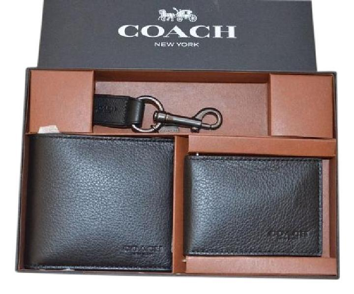 98adfc248a8eb ... inexpensive coach coach f64118 compact id black wallet in sport calf  leather gift set. 12345