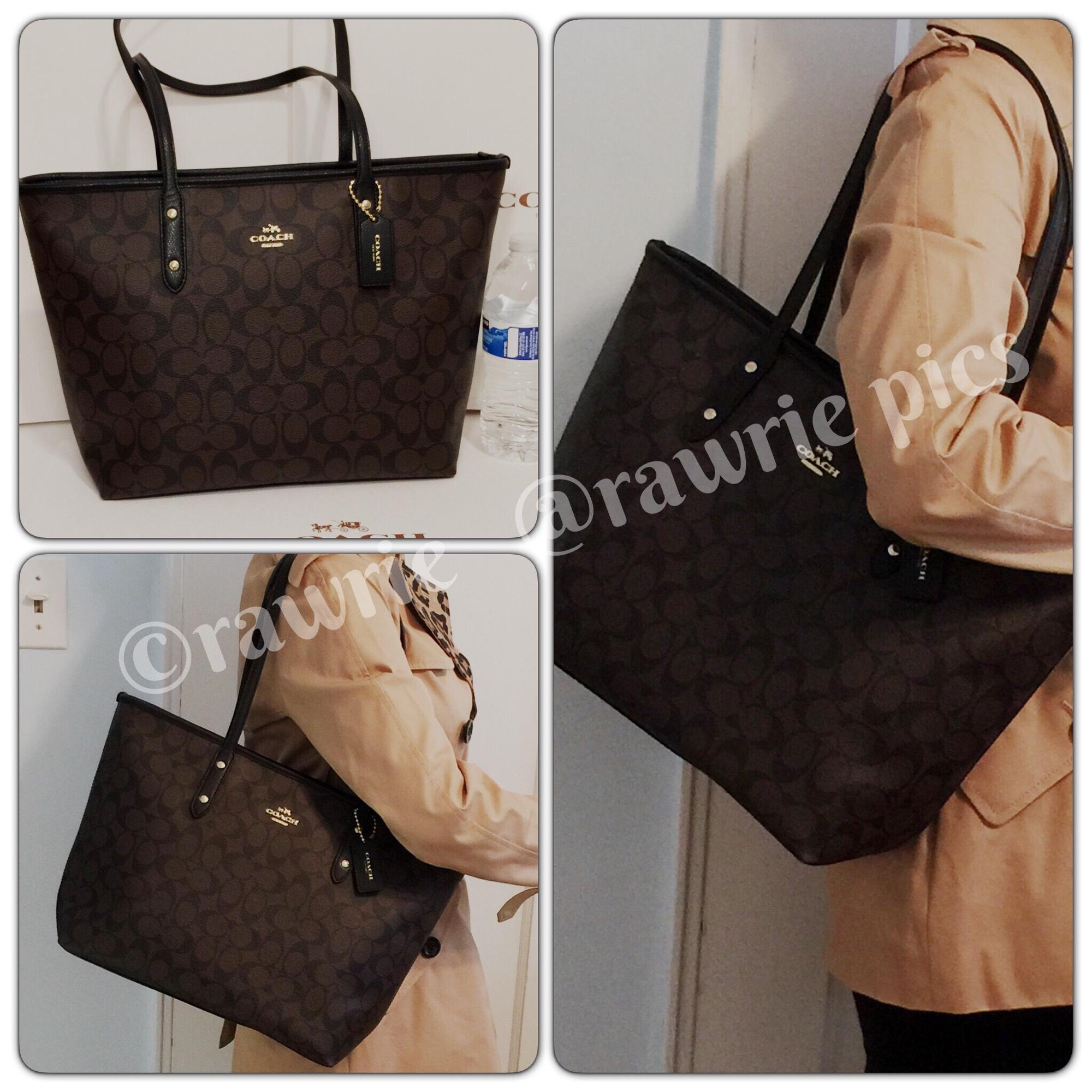 f6a391607dc7 ... leather 8704e 657ad shop coach monogram zip top shoulder classic tote  in black 692b5 9818e ...