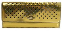 Coach Coach 53178 Perforated Gold Mirror Metallic Leather Soft Flap Front Wallet