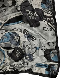 Coach coach blue silk flower butterfly scarf wrap