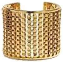 Coach Coach Box Chain Wide Cuff Statement Bracelet Gold Tone 26491