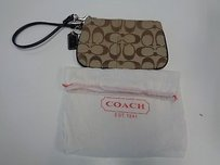 Coach Coach Brown And Tan Canvas One Pocket Silver Hardware Wristlet B3050