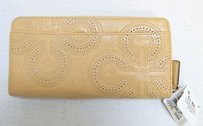 Coach Coach Chelsea Rt Perforated Camel Leather Zip Around Wallet