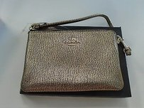 Coach Coach Gold Leather Specked Bp Corner Zip Wristlet Wallet B3522