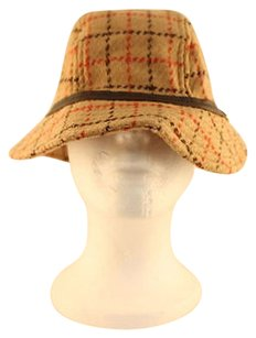 Coach Coach Womens Brown Orange Bucket Hat Wool Plaid Casual
