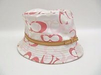 Coach Coach Pink Signature C Bucket Hat Tan Leather Trim Bow Ps