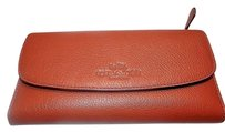 Coach Coach Pebble Leather Checkbook Clutch Wallet F52715 250.00 Saddle