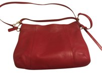 Coach Crossbody Pebble Stone Leather Classic Red Convertible Shoulder Bag