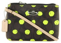 Coach Dot Print Pvc 52581 Wristlet in Brown Neon