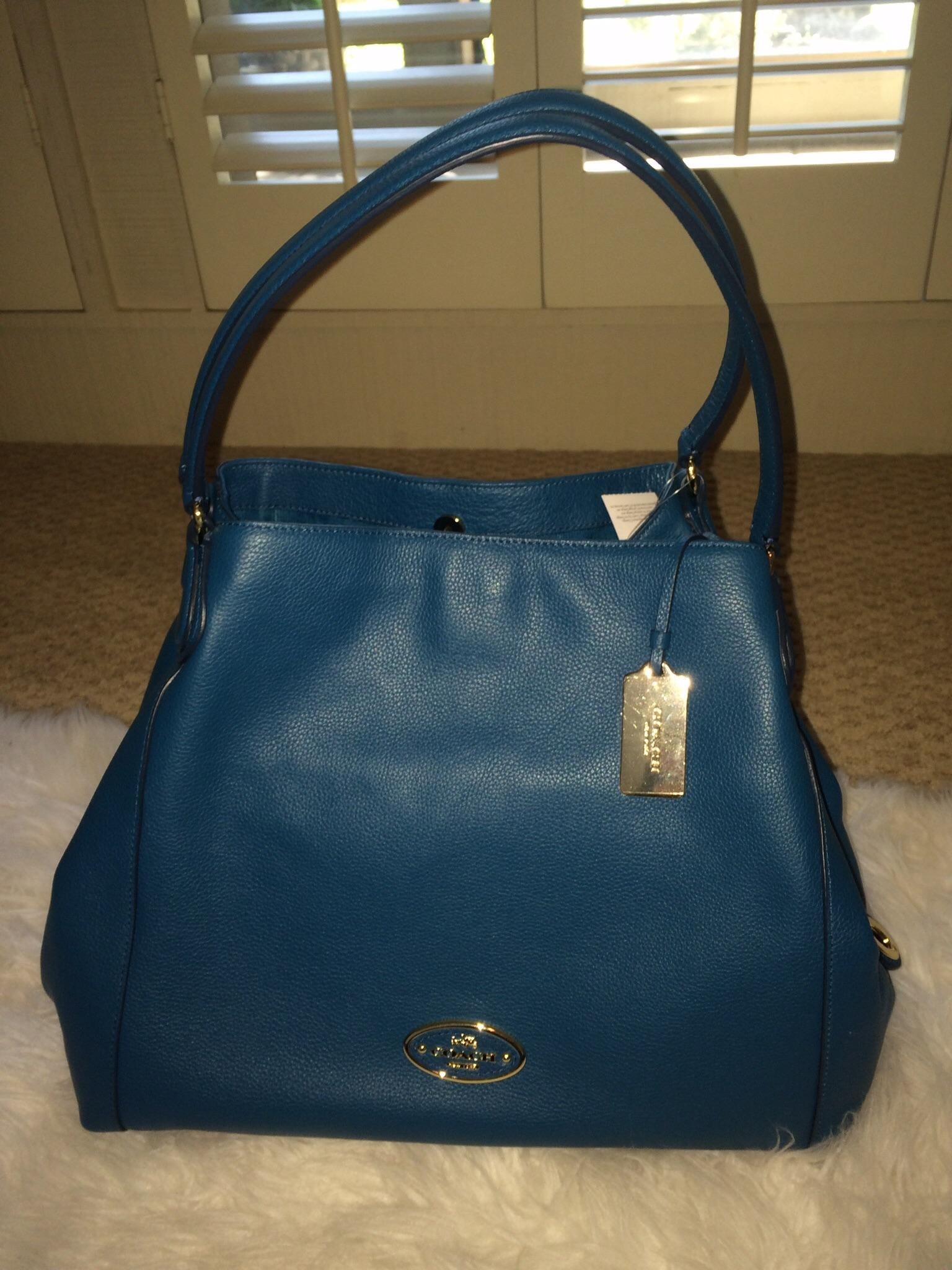 4b9a7b4a0b11 ... czech coach edie leather pebbled pleather shoulder tote in teal.  12345678 ecab5 a5262