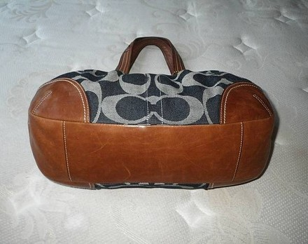 Coach Louis Vuitton Dooney Bourke Gucci Channel Rare Vintage Tote in Denim, Whiskey/Saddle Tan