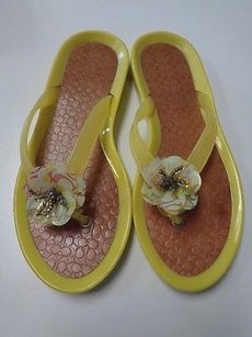 Coach Yellow Brown And Gold Sandals
