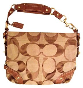 Coach Hardware Leather Satin Jacquard Hobo Bag