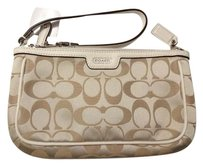 Coach Large Khaki F51661 Wristlet in Light Khaki/Pearl