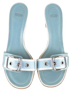 Coach Leather Canvas Heels Blue Pool White Sandals